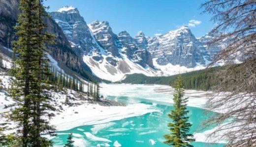 5月のバンフの観光スポット|湖の氷もとけていい感じです。